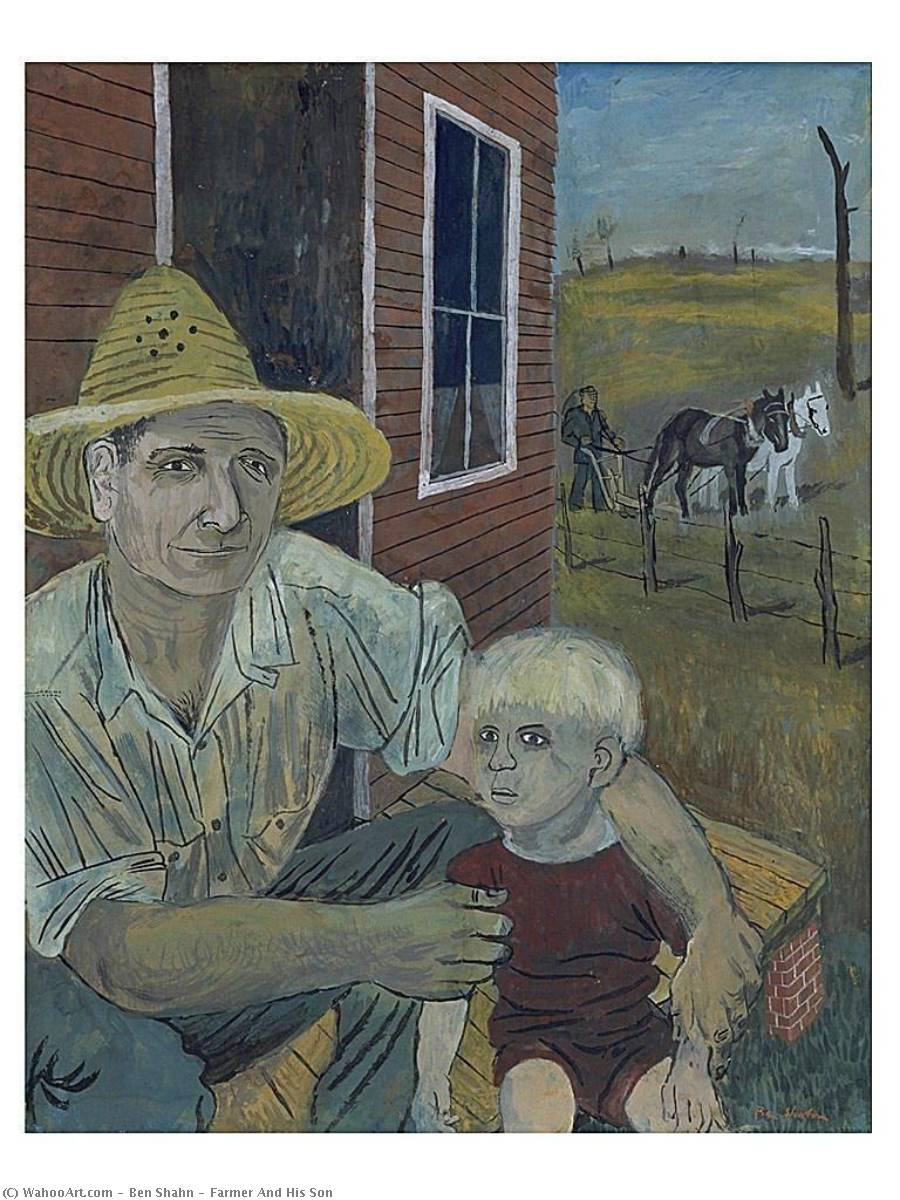Farmer And His Son, Paper by Benjamin Shahn (1898-1969, Lithuania)