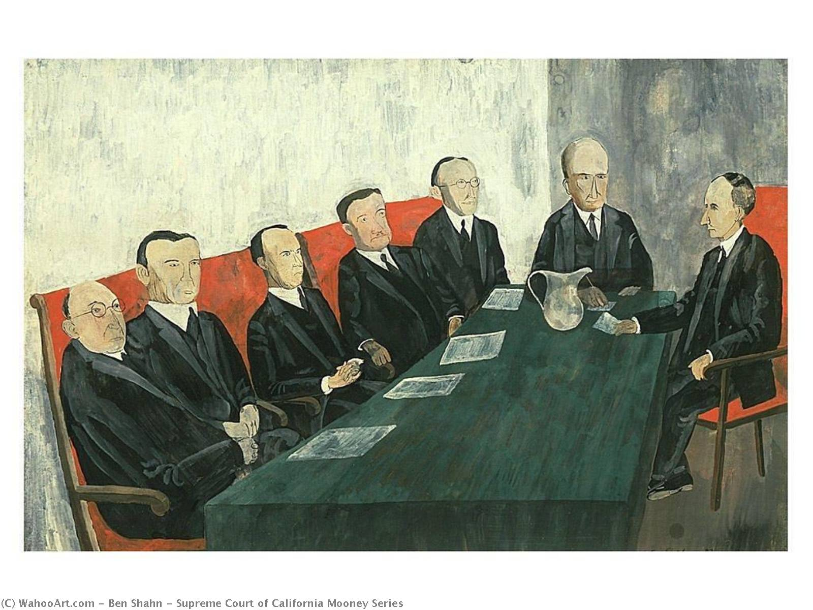Supreme Court of California Mooney Series, Gouache by Benjamin Shahn (1898-1969, Lithuania)