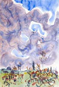 Allen Tucker - Watercolor no. 31, Landscape with Clouds