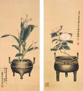 Huang Shiling - Flowers and Bronze Vessels