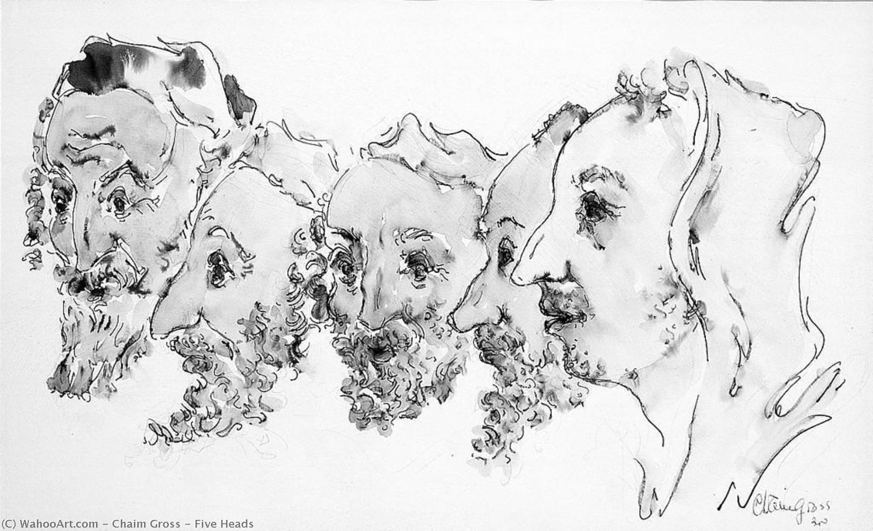 Five Heads, Watercolour by Chaim Gross