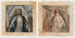 Boardman Robinson - Christ and Socrates (mural study, The Law Givers, U.S. Department of Justice, Washington, D.C.)