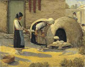 Carl Moon - Women Baking Bread