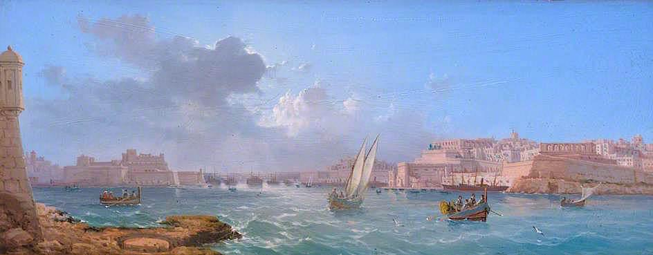 Grand Harbour, Valletta, Oil On Panel by Luigi Galea