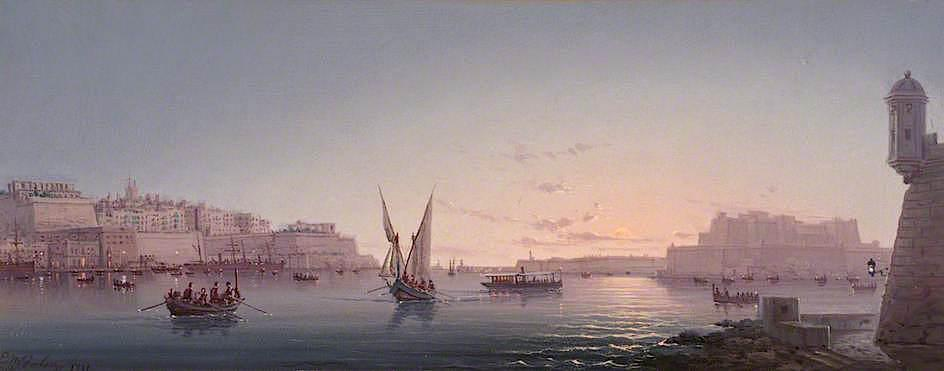 Grand Harbour, Malta, from Corrodino, Oil On Canvas by Luigi Galea (order Fine Art oil painting Luigi Galea)