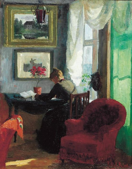 Interior with red chair by Kitty Kielland | Oil Painting | WahooArt.com