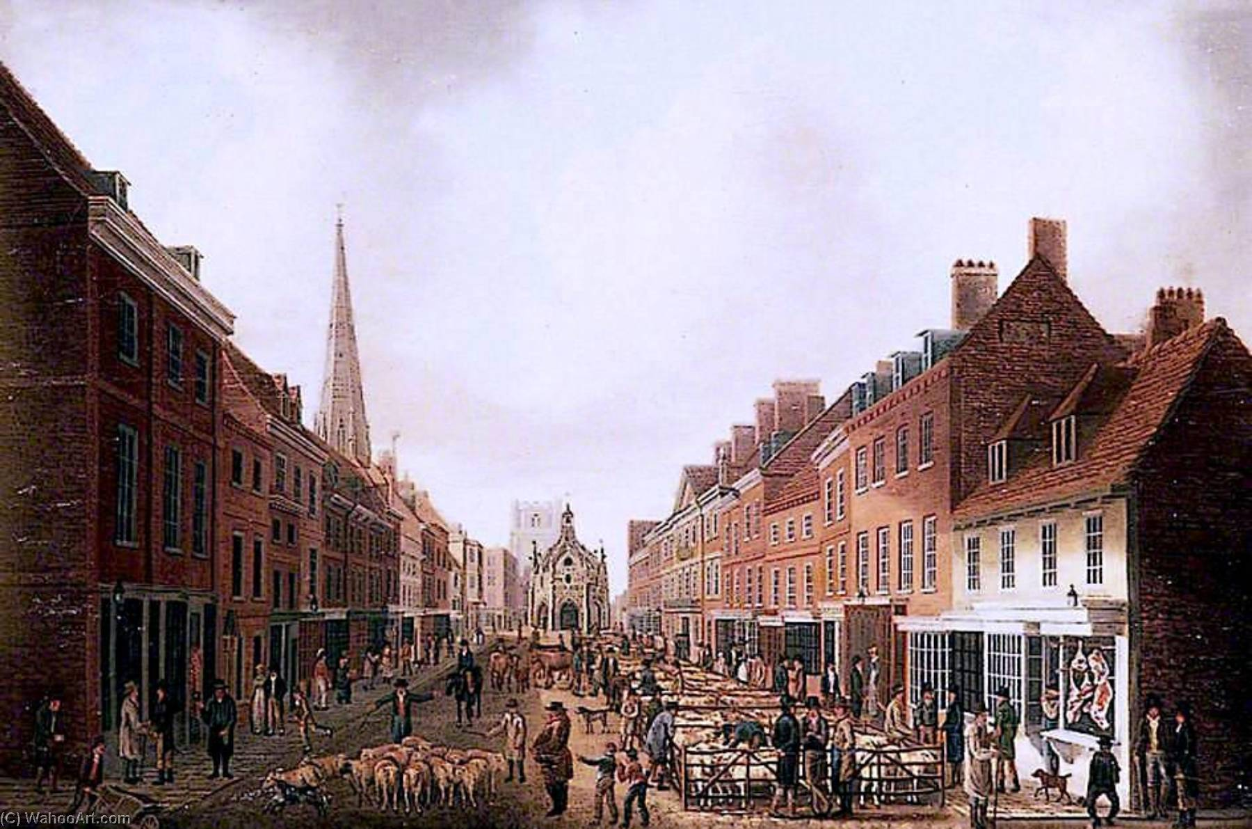 East Street Market, Chichester, West Sussex, Oil On Canvas by Joseph Francis Gilbert