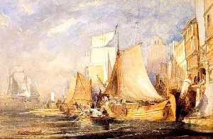 John Wilson Ewbank - A Harbour Scene with Shipping