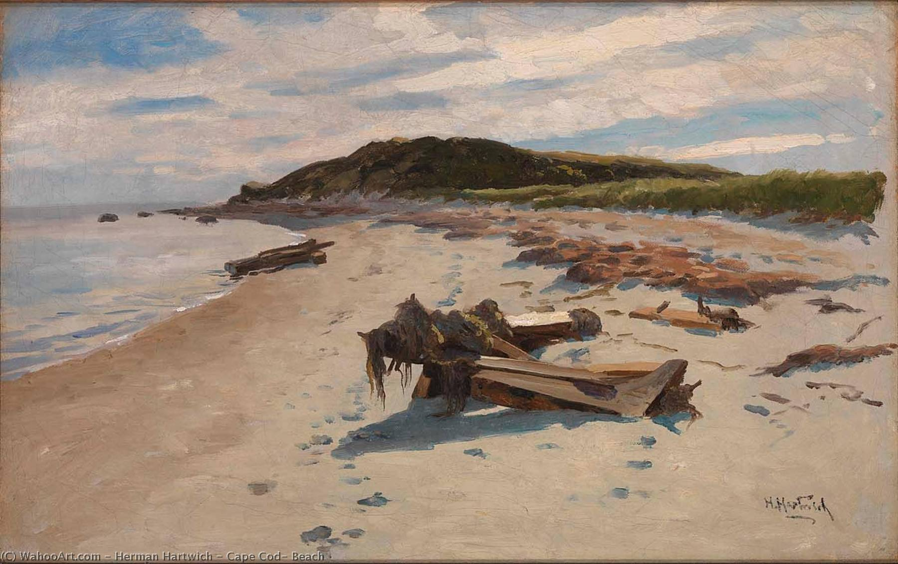 Cape Cod, Beach, 1894 by Herman Hartwich | Museum Quality Reproductions | WahooArt.com