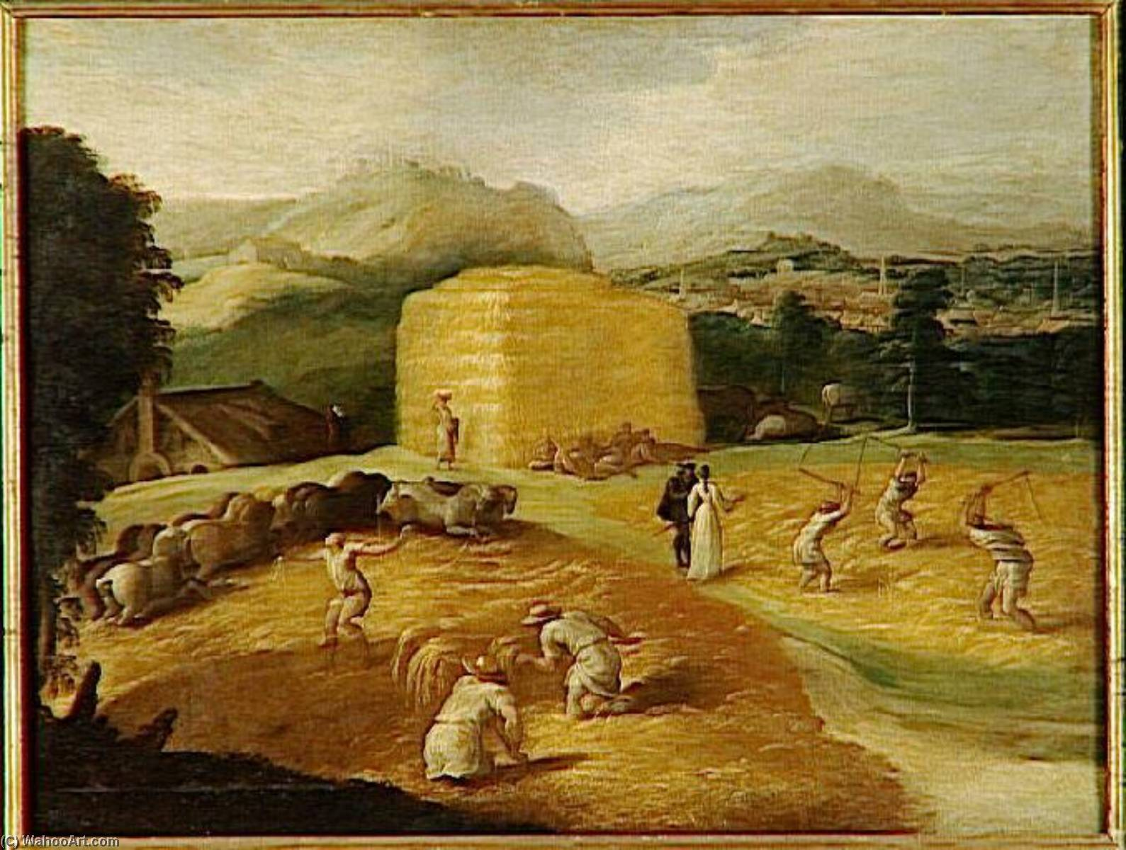 Landscape with wheat threshers, Oil On Canvas by Niccolo Dell' Abate