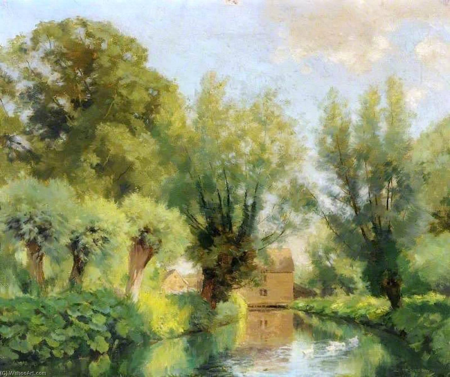 The Mill Stream, Cotswolds, Oil On Canvas by Joseph Barnard Davis
