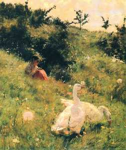 Kiriak Kostandi - Girl with Geese