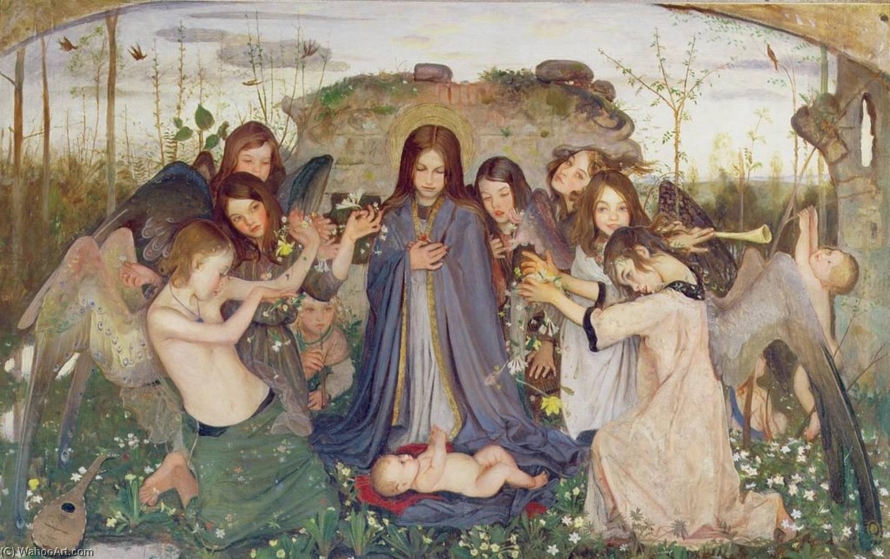 Madonna and Child with Angels, 1925 by Mark Lancelot Symons | Oil Painting | WahooArt.com