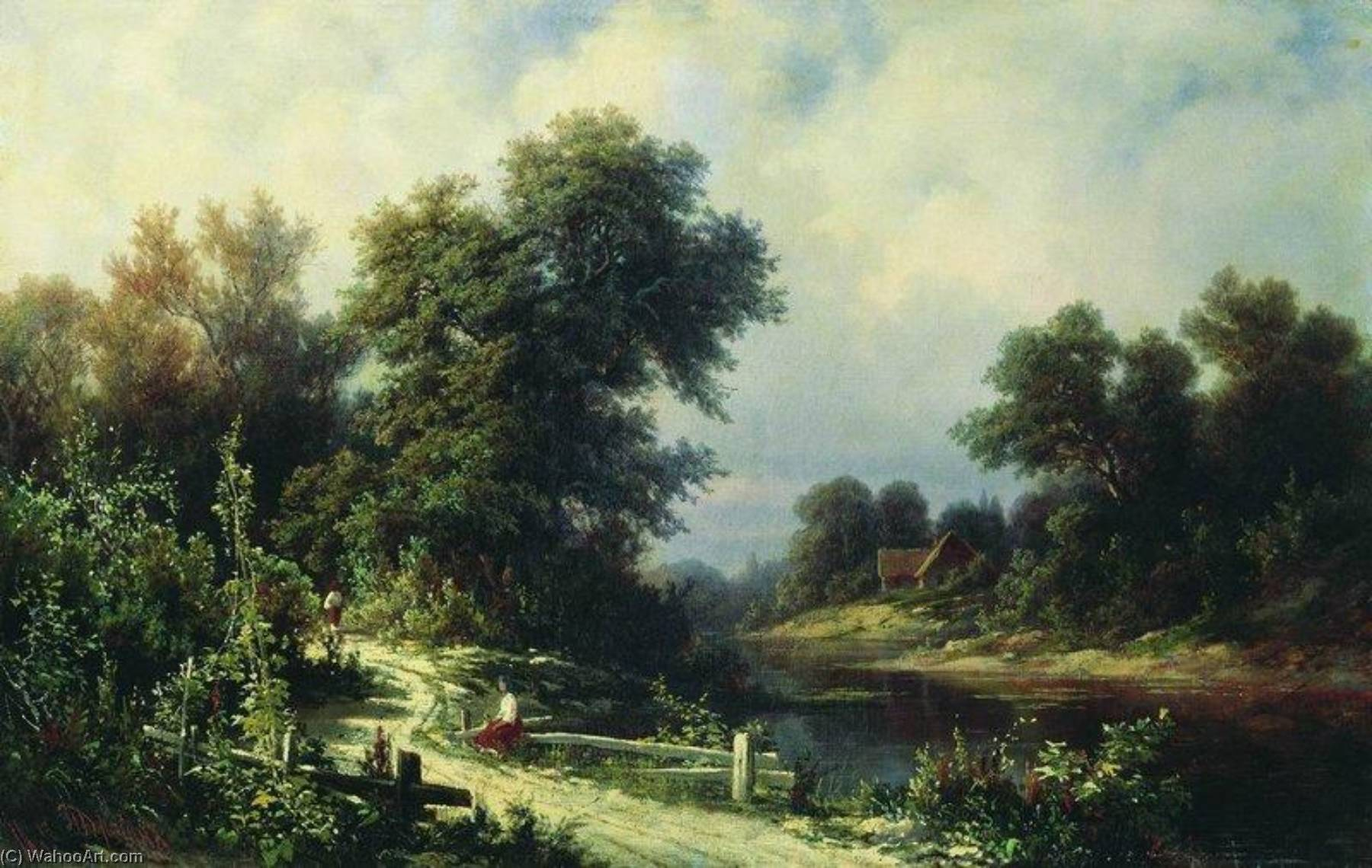Landscape with River, 1865 by Pavel Dzhogin | Oil Painting | WahooArt.com
