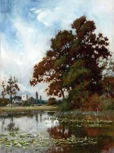 Peter Ghent - Landscape (also known as Mere, Swans, Church in Background)