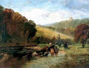 Richard Beavis - Marauders Swimming the Tweed with Stolen Cattle