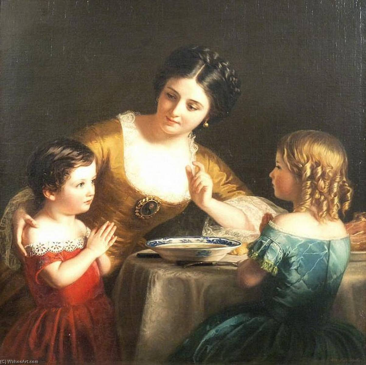 Order Famous Paintings Reproductions : Grace Before Meal, 1859 by Samuel Baruch Halle | WahooArt.com