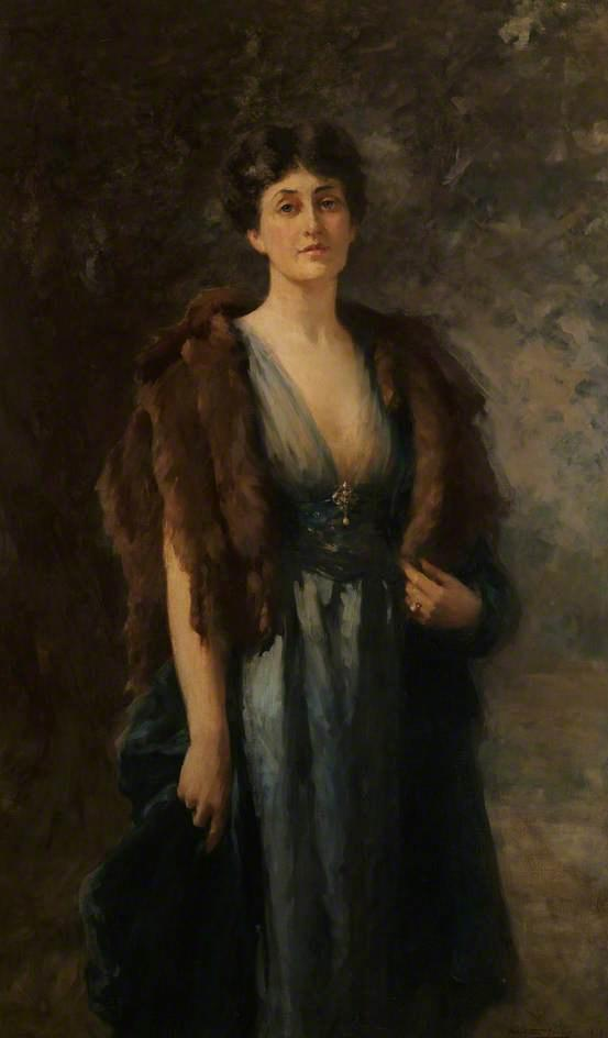 Mabel Carlisle, Wife of Hugh Edwardes, 6th Baron Kensington, Oil On Canvas by Samuel Melton Fisher