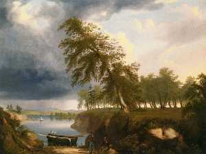 Thomas Hewes Hinckley - Landscape with Fisherman