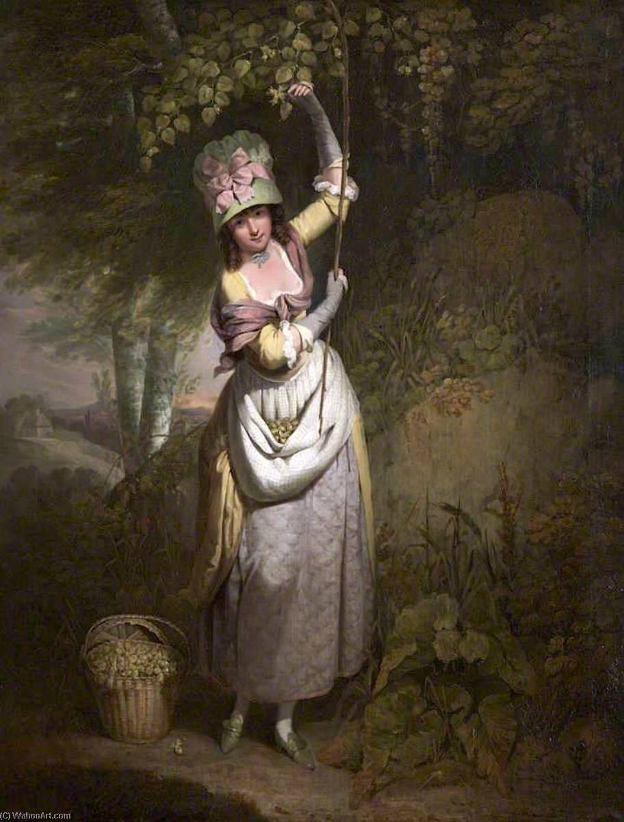 A Girl Gathering Filberts, 1782 by William Redmore Bigg | Oil Painting | WahooArt.com