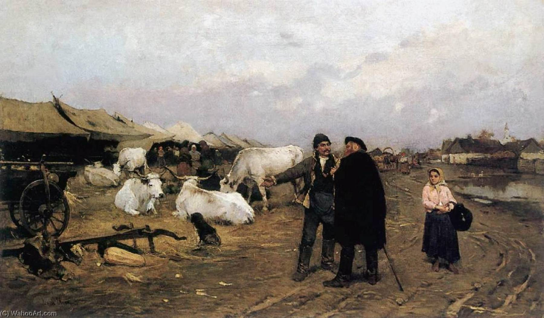 Market Scene, 1885 by Lajos Deák Ébner | Art Reproduction | WahooArt.com