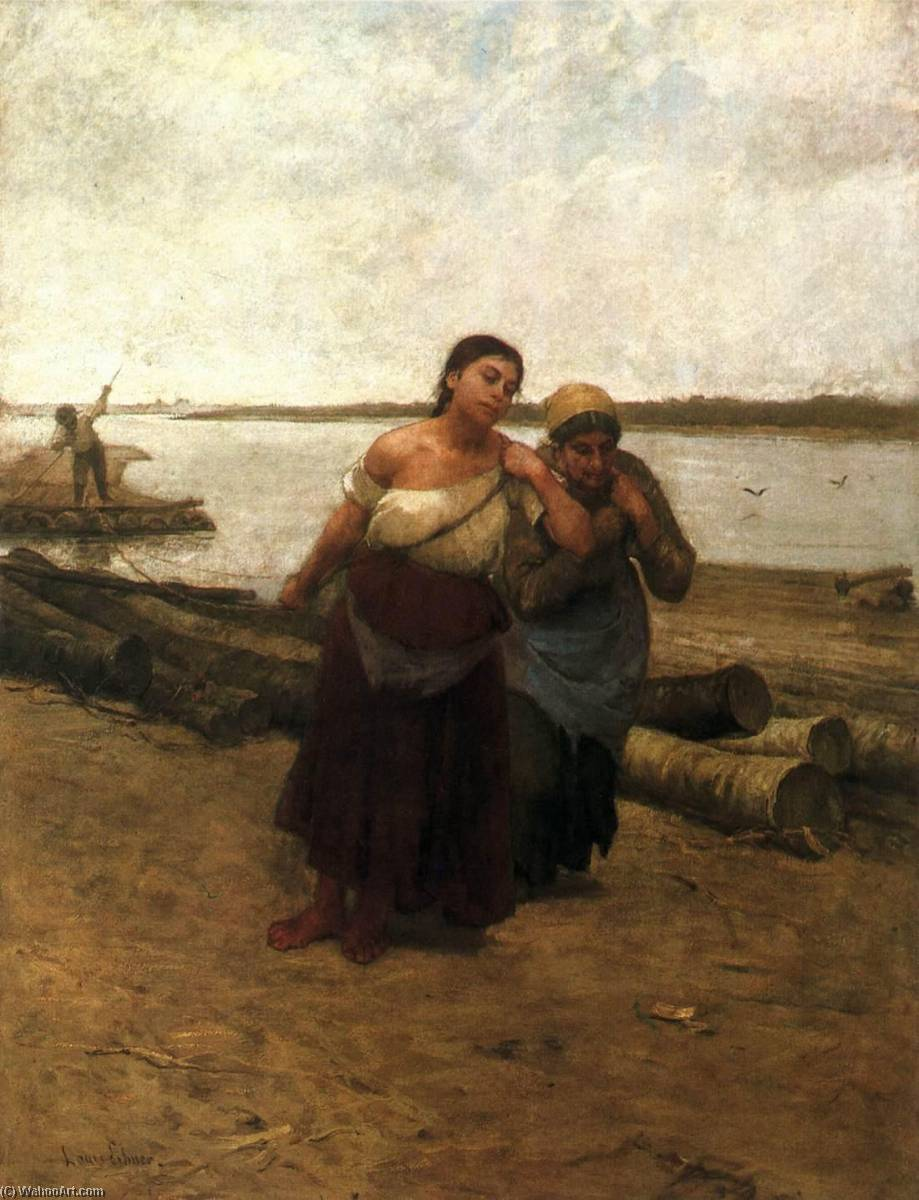 Boat Warpers, 1885 by Lajos Deák Ébner | Museum Quality Reproductions | WahooArt.com