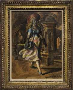 Reginald Marsh - Girl Walking Verso Four Girls