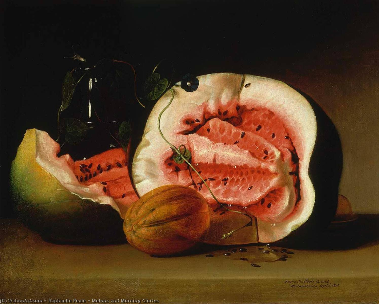Melons and Morning Glories, 1813 by Raphaelle Peale (1774-1825, United States) | Museum Art Reproductions Raphaelle Peale | WahooArt.com