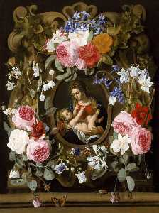 Christiaen Luyckx - Garland of Flowers with the Madonna and Child