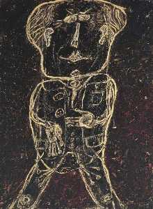 Jean Philippe Arthur Dubuffet - Monsieur Plume with Creases in his Trousers (Portrait of Henri Michaux) (Monsieur Plume plis au pantalon (Portrait d'Henri Michaux))
