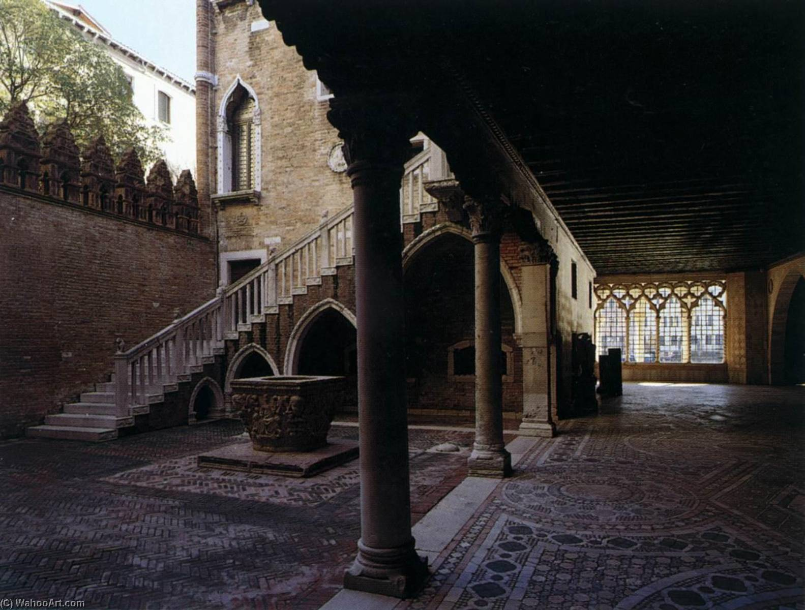 Ca` d`Oro Portico and inner courtyard, 1427 by Matteo Raverti | Museum Quality Reproductions | WahooArt.com