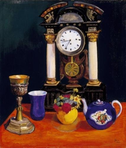 Still Life with a Blue Glass, a Teapot and a Yellow Vase, 1914 by Arnold Gara | Paintings Reproductions Arnold Gara | WahooArt.com