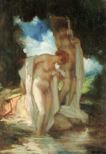 After the Bath by Géza Udvary | Paintings Reproductions Géza Udvary | WahooArt.com