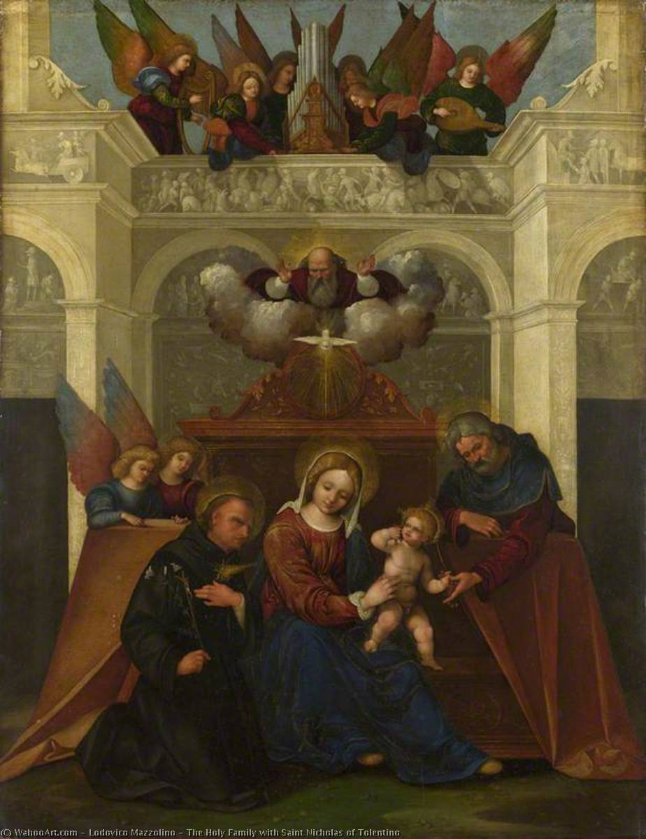 The Holy Family with Saint Nicholas of Tolentino, Oil by Ludovico Mazzolino (1480-1528, Italy)