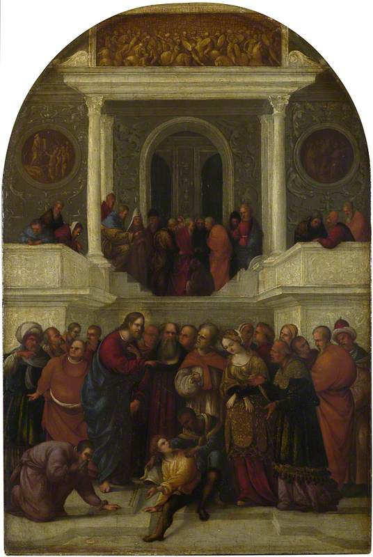 Christ and the Woman taken in Adultery, 1522 by Ludovico Mazzolino (1480-1528, Italy) | WahooArt.com