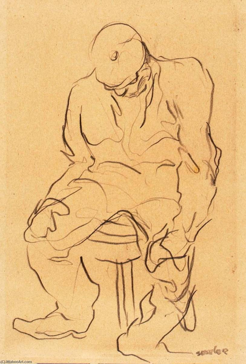(Seated Man in Cap), 1939 by Alfred Sessler | Museum Quality Reproductions | WahooArt.com
