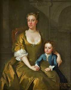 Hamlet Winstanley - Elizabeth (1694–1776), Countess of Derby and Her Son, the Honourable Edward Stanley (c.1732–1745)