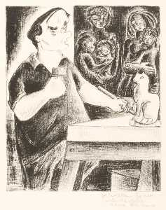 Aline Fruhauf - (Untitled William Zorach Carving a Cat)