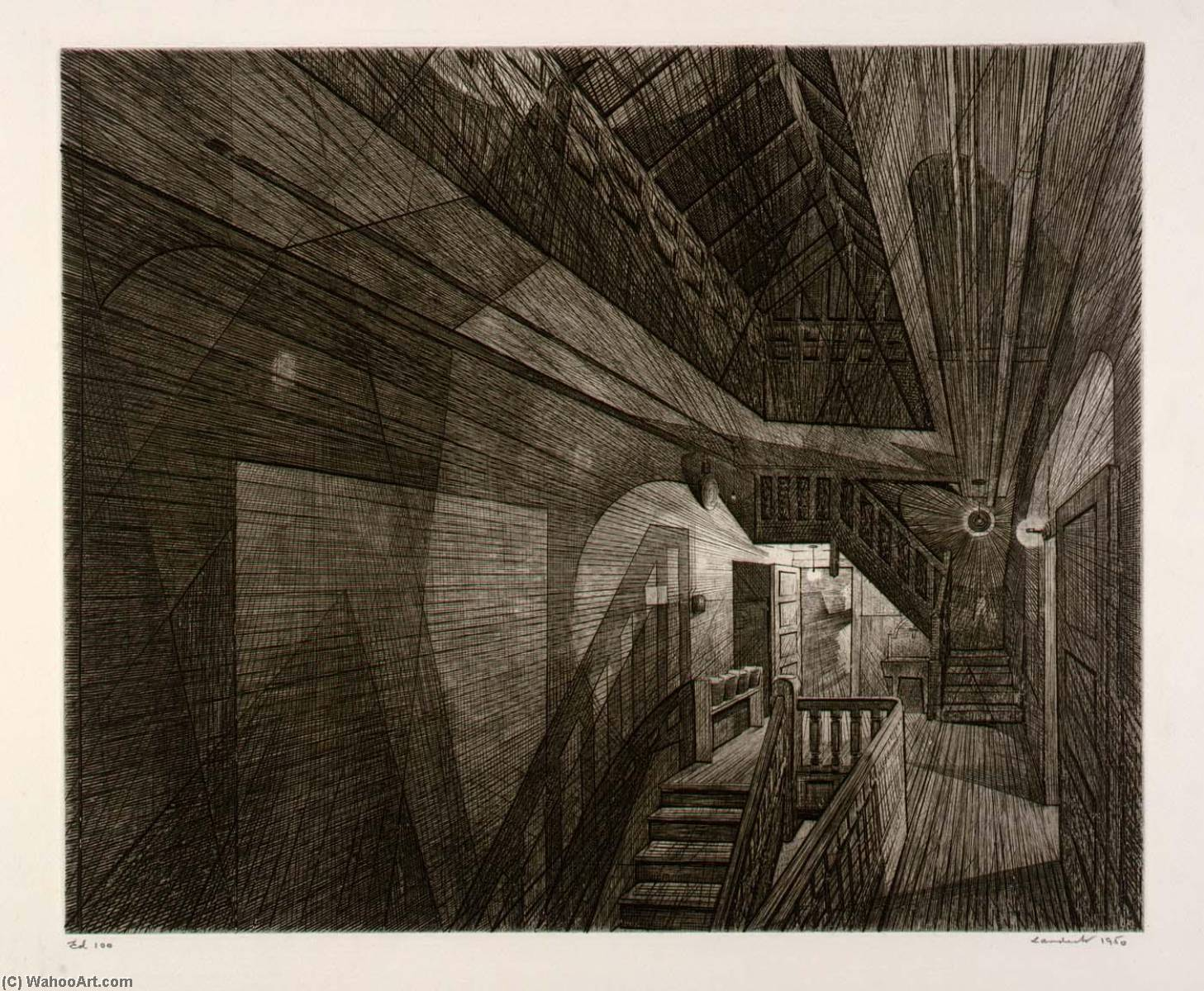 Stairhall, 1950 by Armin Landeck | Reproductions Armin Landeck | WahooArt.com