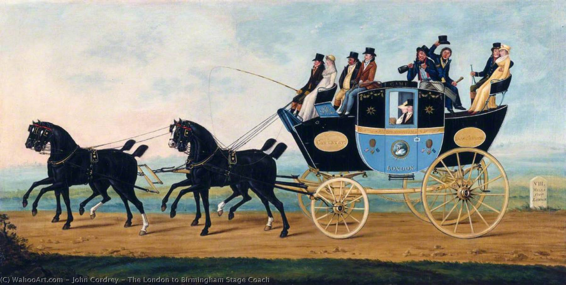 The London to Birmingham Stage Coach, 1801 by John Cordrey | Oil Painting | WahooArt.com