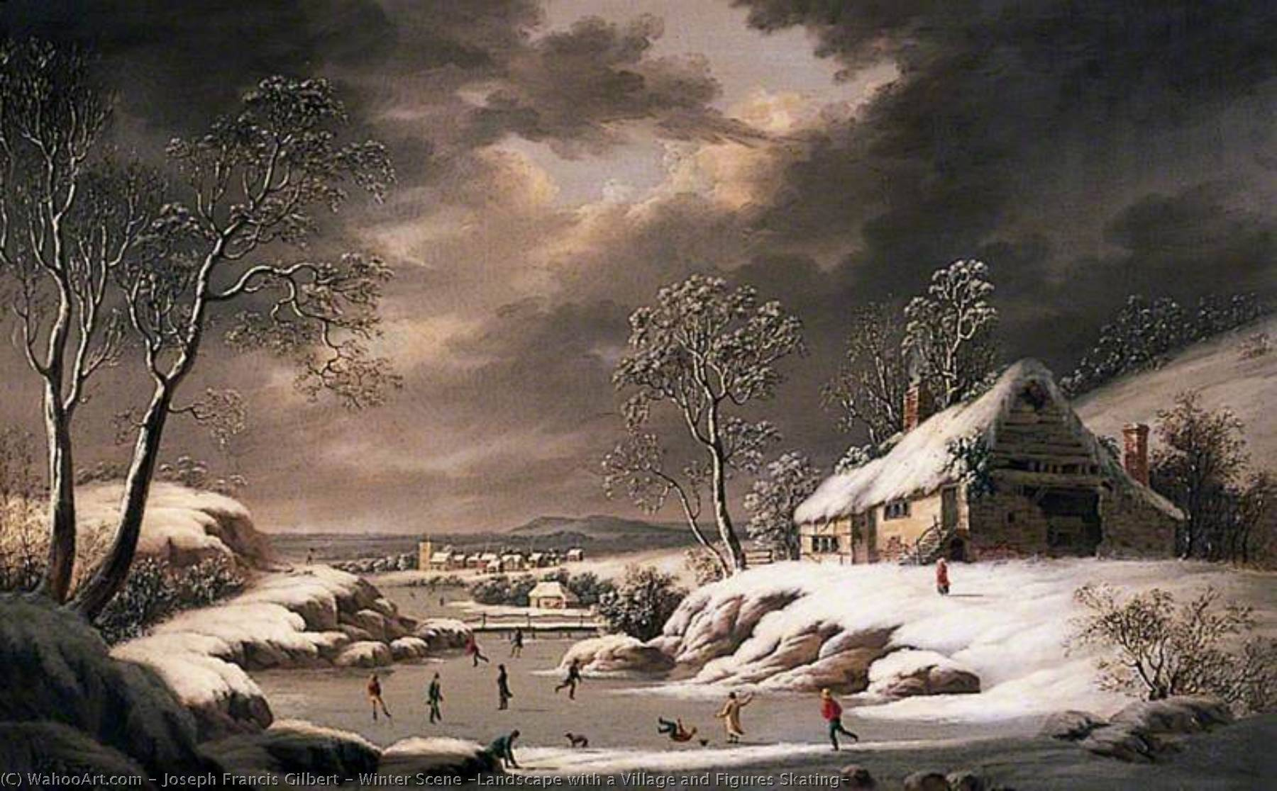 Winter Scene (Landscape with a Village and Figures Skating), Oil On Canvas by Joseph Francis Gilbert