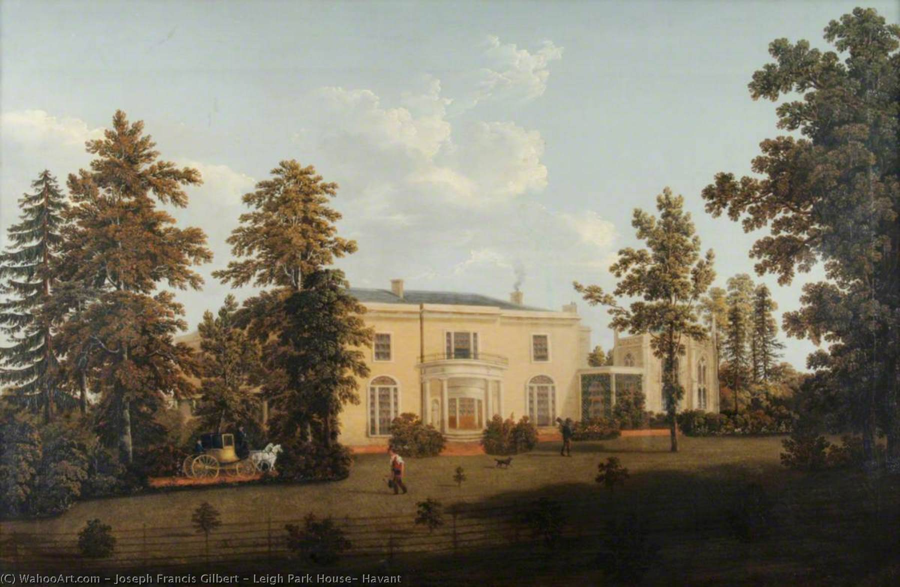 Leigh Park House, Havant, Oil by Joseph Francis Gilbert