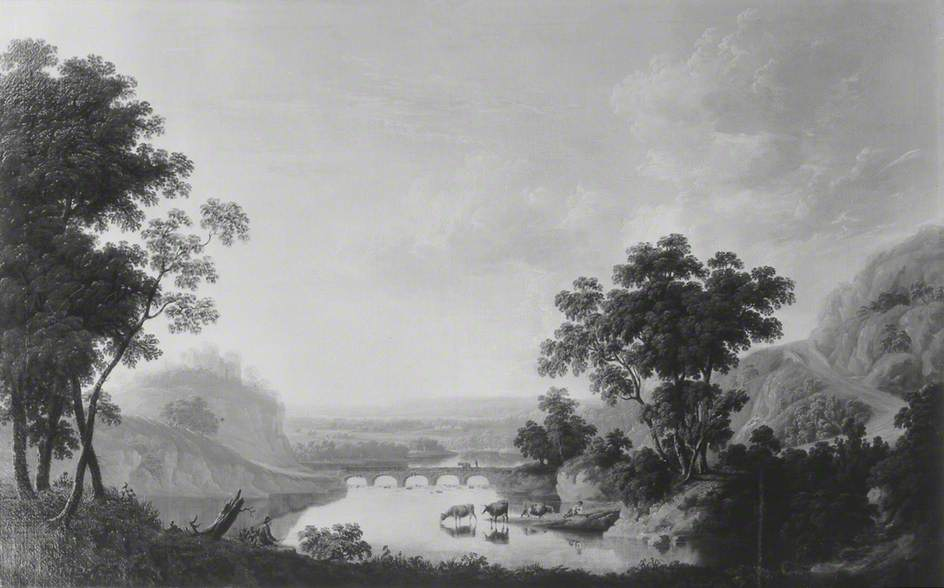 Landscape with River and Ruined Castle, Oil On Canvas by Joseph Francis Gilbert