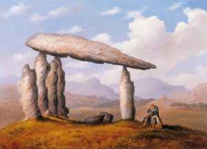 Order Art Reproductions | Cromlech near Newport (Chamber Tomb of Pentre Ifan), 1835 by Richard Tongue | WahooArt.com