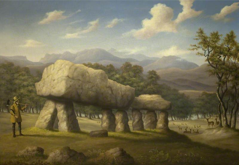 The Double Cromlech at Plas Newydd, Anglesey, 1830 by Richard Tongue | Museum Quality Copies Richard Tongue | WahooArt.com