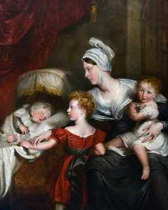 John Hayter - Lady Augusta FitzClarence Kennedy Erskine (d.1860), Natural Daughter of King William IV and Wife of the Honourable John Erskine, with Her Children, Wiliam Henry, Wilhelmina and Millicent Ann Mary