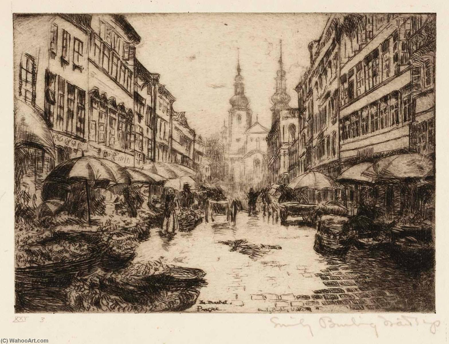 Market in Prague, Etching by Emily Burling Waite