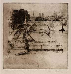 Edward Townsend Howes - (Paris Scene Boats in River)