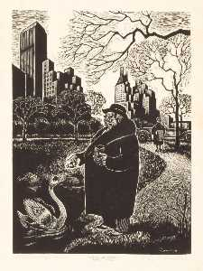 Order Reproductions | Central Park Idyll, 1936 by Fritz Eichenberg | WahooArt.com