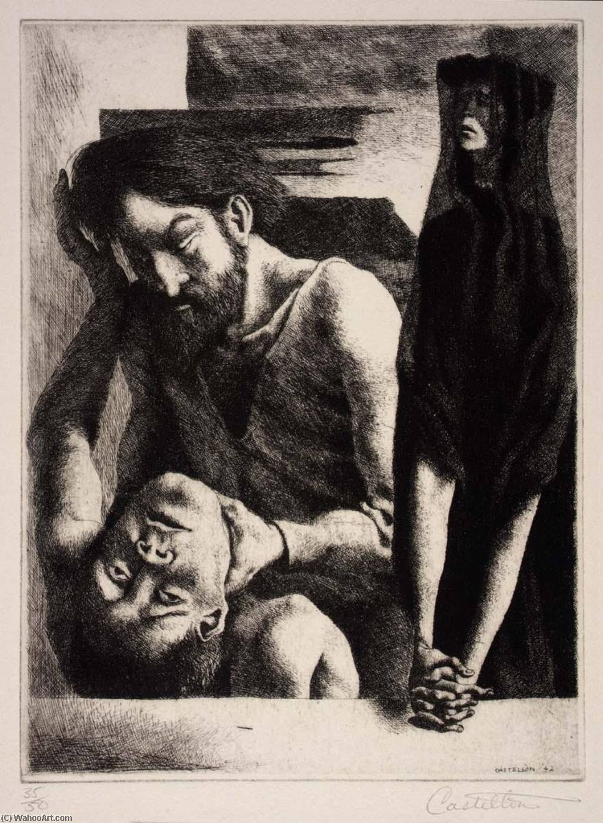 Eve's Sorrow, Etching by Federico Castellon (1914-1971, Spain)